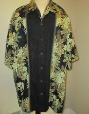 Men's TOMMY BAHAMA 100% Silk SHORT SLEEVE CAMP SHIRT XL Black Hawaiian Print