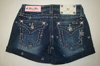 NWT $74 MISS ME GIRLS Denim Jeans Shorts HEARTS CRYSTALS Size 10  Blue NEW