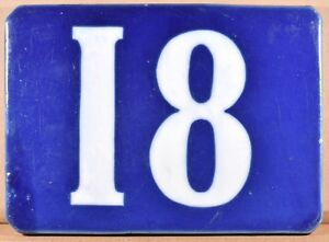 Old blue French house number 18 wall plate plaque porcelain enamel sign c1900