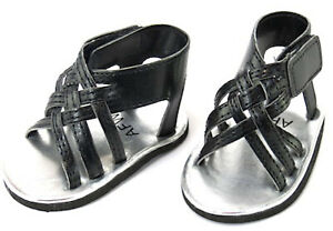 """Black Crisscrossed Braided Sandal Shoes made for 18"""" American Girl Doll Clothes"""
