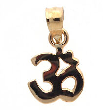 14K Yellow Gold Solid Om Ohm Aum Symbol Pendant Charm Free Shipping