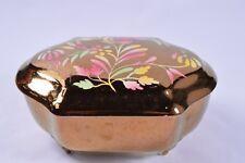 Vintage Copper Gold Lustre Ware Hand Painted Floral WADE Trinket Box