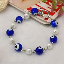 Blue Evil Eye Glass Lamp Work Evil Eye & White Pearl Beads Bracelet (JB00637)