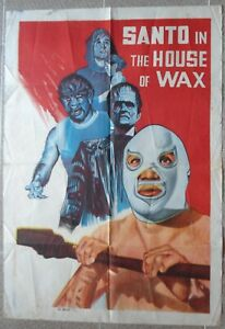 """SANTO IN THE WAX MUSEUM Ptd In Egypt 30x40"""" Movie Poster Mexican Film1970"""