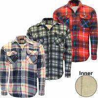 Mens Sherpa Fleece Lined Lumberjack Padded Check Warm Thick Work Shirt Jacket