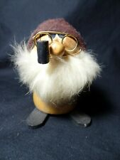 Vtg Wood Troll Gnome w Glasses, Pipe, Fur Beard & Felt Hat – Japan