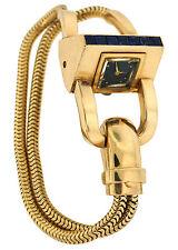 1940s J.E. CALDWELL SAPPHIRE YELLOW GOLD RETRO WATCH BRACELET Unique Rare