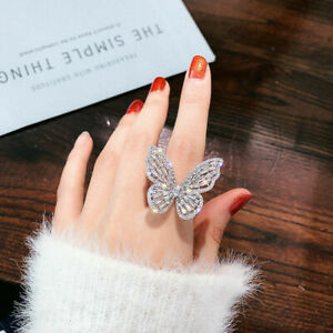 Charm Crystal Big Butterfly Ring Women Finger Open Knuckle Adjustable Jewelry UK