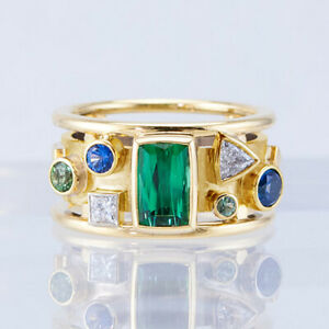 Gorgeous 18k Yellow Gold Plated Rings Women Cubic Zircon Rings Jewelry Size 6-10