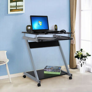 UK Small Laptop PC Table Mobile Gaming Computer Desk with Keyboard & CPU Shelf