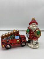 Glass Santa Firefighter & Glass Fire Engine Christmas Holiday Ornament