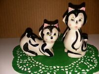 Adorable Vintage Hand Painted Porcelain Skunk Salt and Pepper Shakers