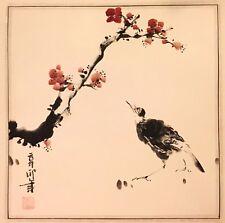 Vogel undKirschblüte- Gemälde Tuschenmalerei - HAND GEMALT SIGNISIERT 49 x 49
