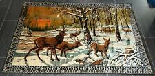 """Vintage European Tapestry Snowy Forest With Deer Scene 48 1/2"""" X 73"""""""