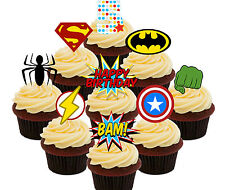 5th Birthday Superhero Edible Cup Cake Toppers, 36 Boys Stand-up Bun Decorations