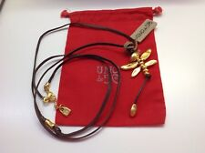 NWT Uno de 50 Gold Plated Dragonfly Leather Necklace