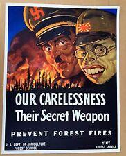 Vintage 1943 WWII Poster Our Carelessness Their Secret Weapon w/ Hitler Tojo