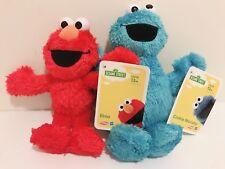 "Set of 2 Sesame Street 9"" Cookie Monster 8"" Elmo Plush Doll Pal Kids Toy NWT"