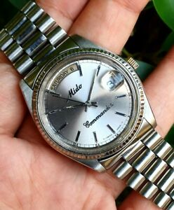 Mido Commander President Datejust S/Steel Silver Dial Auto Mens Vtg Swiss Watch