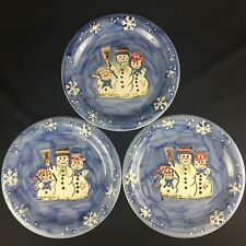 Set of 3 Dinner Plates by Tabletops Unlimited Snow Family Christmas Snowman Blue
