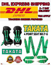 "TAKATA GREEN 4 Point Snap-On 3"" With Camlock Racing Seat Belt Harness DHL FedEX"