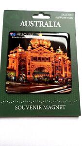 Australia Melbourne Souvenir Magnet. Flinders St. Station Design Night Scene