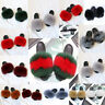 Women Real Fur Flat Shoes Fluffy Flip Flop Slippers Sliders Sandals Xmas UK NEW