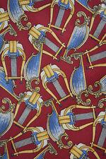 Burberry Silk Neck Tie Red w. Gold Harps