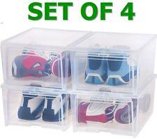 shoe storage box drop front organizer set of 4 sneaker stackable bins USA Jordan