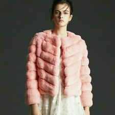Pink Chinchilla Fur Jacket Waist Length Diagonal Stitching Direct Manufacturer