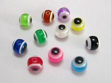 100 Mixed Colour 10mm Acrylic Evil Eye Ball Round Beads