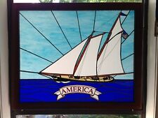 """Genuine Stained Glass Rendition Of The 1851 Schooner """"America"""""""