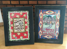 Mary Engelbreit framed 5x7 cards/2 There's no Place Like Home & Happiness must.