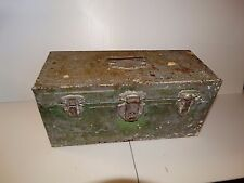 18545 Vintage Metal Distressed Fishing Tackle~ Tool Box ~ Primitive Farm Sale