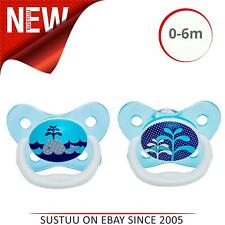 Dr Brown's PreVent Soother│Baby's Pacifier│Stage 1 Dummies│Sky│0-6m│2pk