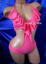 Express Swimsuit Pink Small S Women Sexy Cut Out Monokini Halter Swimwear Pad