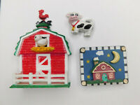 Lot of 3 Farmhouse Red Barn Cow Assorted Refrigerator Magnets Vtg 80s 90s