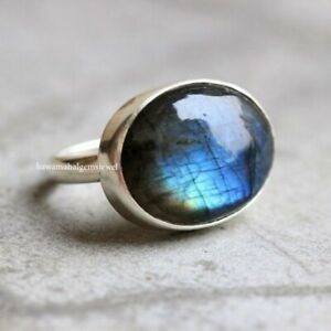 Natural Blue Fire Labradorite Ring 925 Silver Cabochon Stone Jewelry Oval Rings