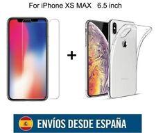 IPHONE MAX CRISTAL VIDRIO TEMPLADO PROTECTOR Y FUNDA GEL KIT PARA IPHONE XS MAX