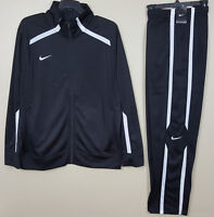 NIKE BASKETBALL WARM UP SUIT JACKET + PANTS BLACK WHITE RARE NEW (SIZE LARGE)