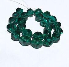 24 PCS Trade Czech Bohemian Glass Green Tranparent Smooth Bicone color Beads