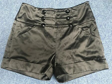 Ladies Size 8 Satin Style Black Shorts By New Look