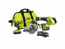Lithium Ion Cordless Drill Circular Reciprocating Saw 4 Piece Combo Kit Case NEW