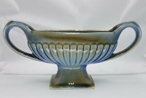 Vintage Wade Irish Porcelain Vase Planter Jardiniere 2 Handle Blue Green