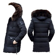 Men's Black Parka Winter Down Jacket with Removable Hooded Fur Collar