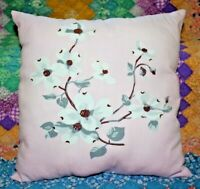 Vintage Wilendur Pink Dogwood Mid Century Farmhouse Tablecloth Throw Pillow