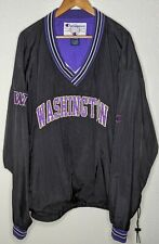 vtg CHAMPION Washington Huskies NCAA Anorak Pullover Jacket Mens 2XL XXL Black