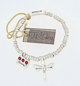 New UNO De 50 Silver Tone Freedom Love Me Red Crystals Dragonfly Bracelet