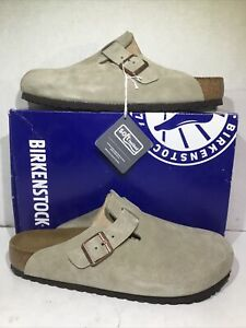 Birkenstock Mens Size 12 EU 45 Boston Taupe Suede Casual Clogs Shoes ZB6-899