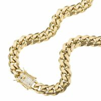"""14K Gold GP Stainless Steel Miami Cuban Link Chain Diamond Clasp 12mm 20"""" 24"""""""